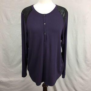Calvin Klein Jeans Purple/ Black Leather LS Top